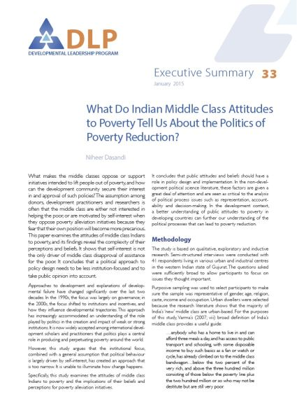 Executive Summary - What Do Indian Middle Class Attitudes to Poverty Tell Us About the Politics of Poverty Reduction?