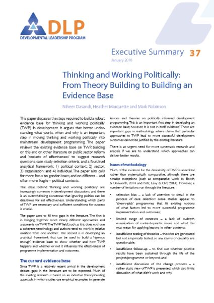Executive Summary - Thinking and Working Politically: From Theory Building to Building an Evidence Base