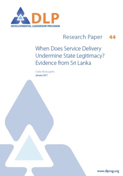 When Does Service Delivery Undermine State Legitimacy? Evidence from Sri Lanka