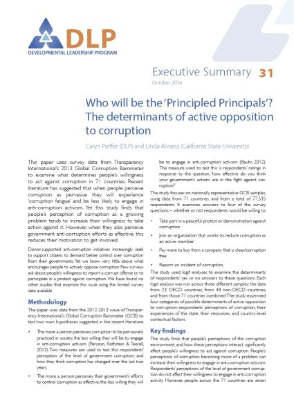 Executive Summary - Who will be the 'Principled Principals'? The determinants of active opposition to corruption