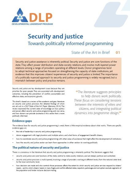 Security and Justice: Towards Politically Informed Programming - State of the Art in Brief