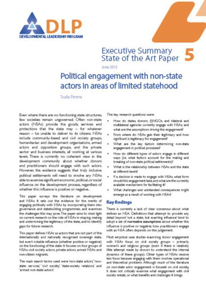 Executive Summary - Political Engagement with Non-State Actors in Areas of Limited Statehood