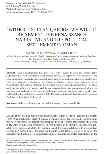 'Without Sultan Qaboos, We Would Be Yemen': The Renaissance Narrative and the Political Settlement in Oman