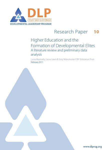 Higher education and the formation of developmental elites: A literature review and preliminary data analysis