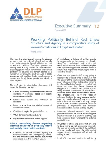 Executive Summary - Working Politically Behind Red Lines Egypt and Jordan