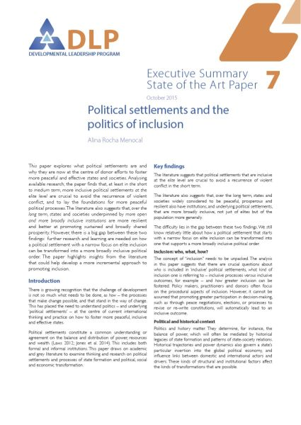 Executive Summary - Political Settlements and the Politics of Inclusion