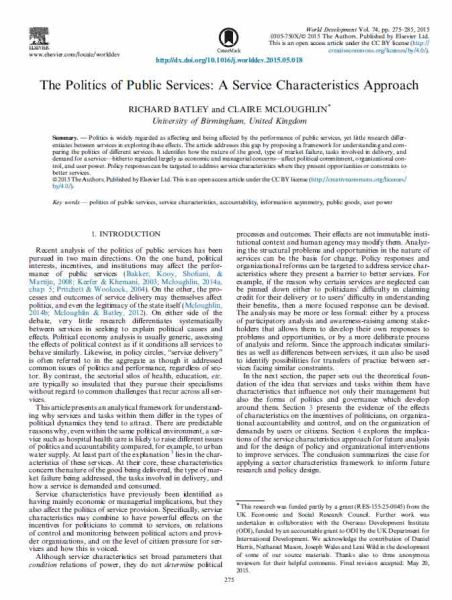 The Politics of Public Services: A Service Characteristics Approach
