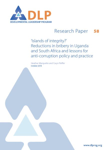 'Islands of integrity'? Reductions in bribery in Uganda and South Africa and lessons for anti-corruption policy and practice