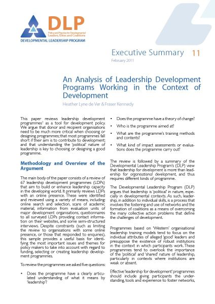 Executive Summary - An Analysis of Leadership Development Programmes