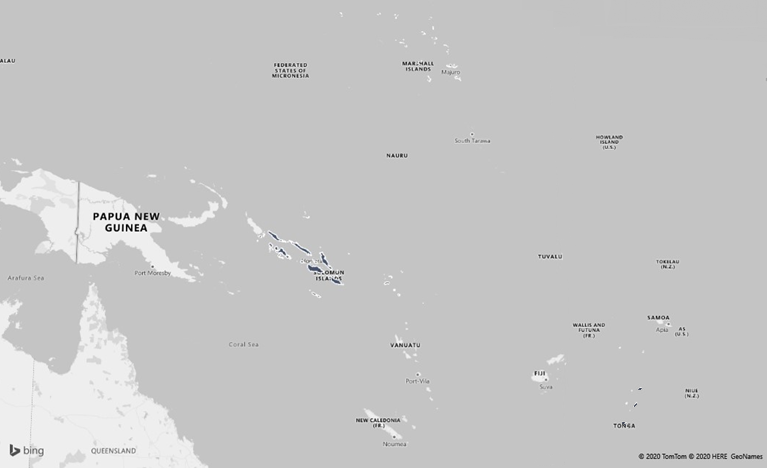 Map to highlight research countries, Marshall Islands, Solomon Islands, Tonga
