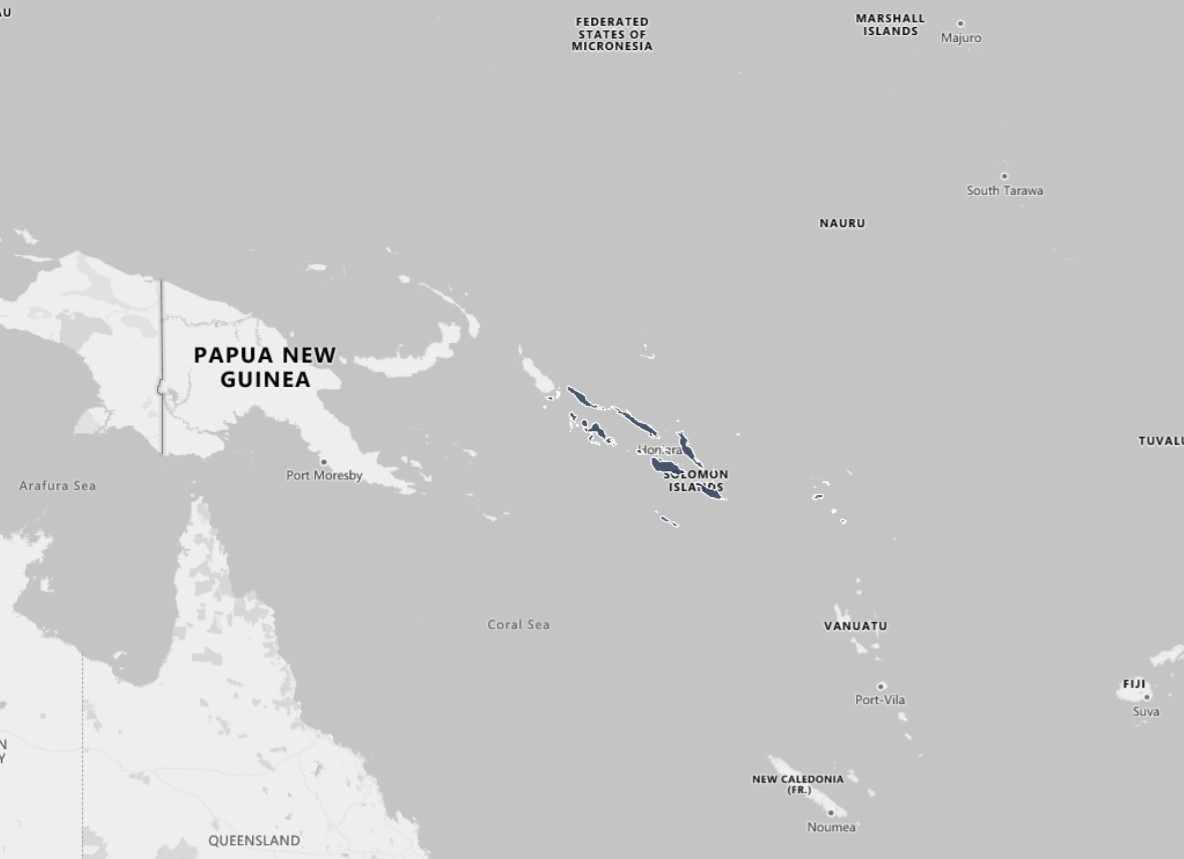 Map to highlight research country, Solomon Islands