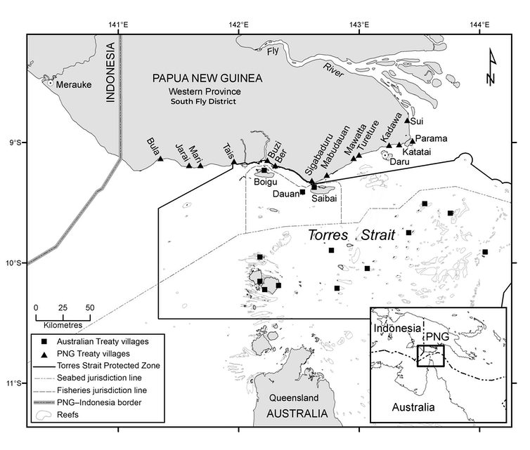 A map of the South Fly District in southern PNG and neighbouring Torres Strait Islands. Author provided