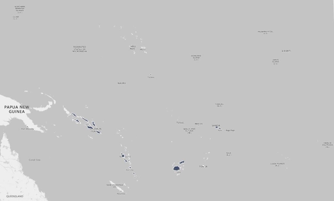 Map to highlight research countries, Pacific Islands