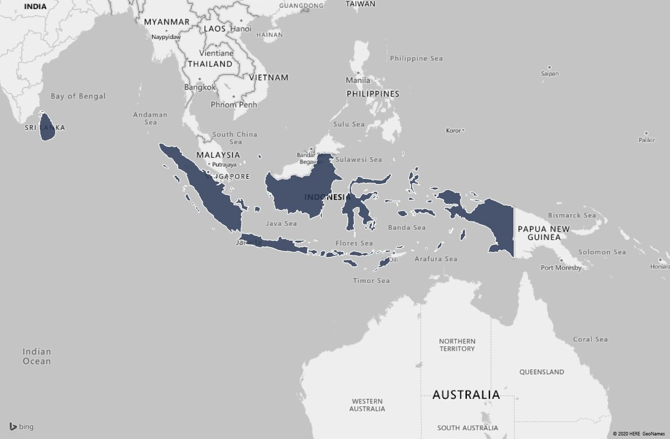 Map to highlight research countries, Indonesia and Sri Lanka