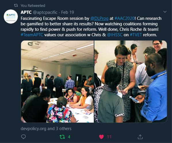 Tweet of images showing the DLP Escape Room in action