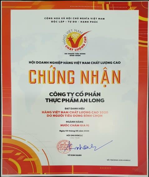 An Long giấy chứng nhận hàng Việt Nam Chất Lượng Cao