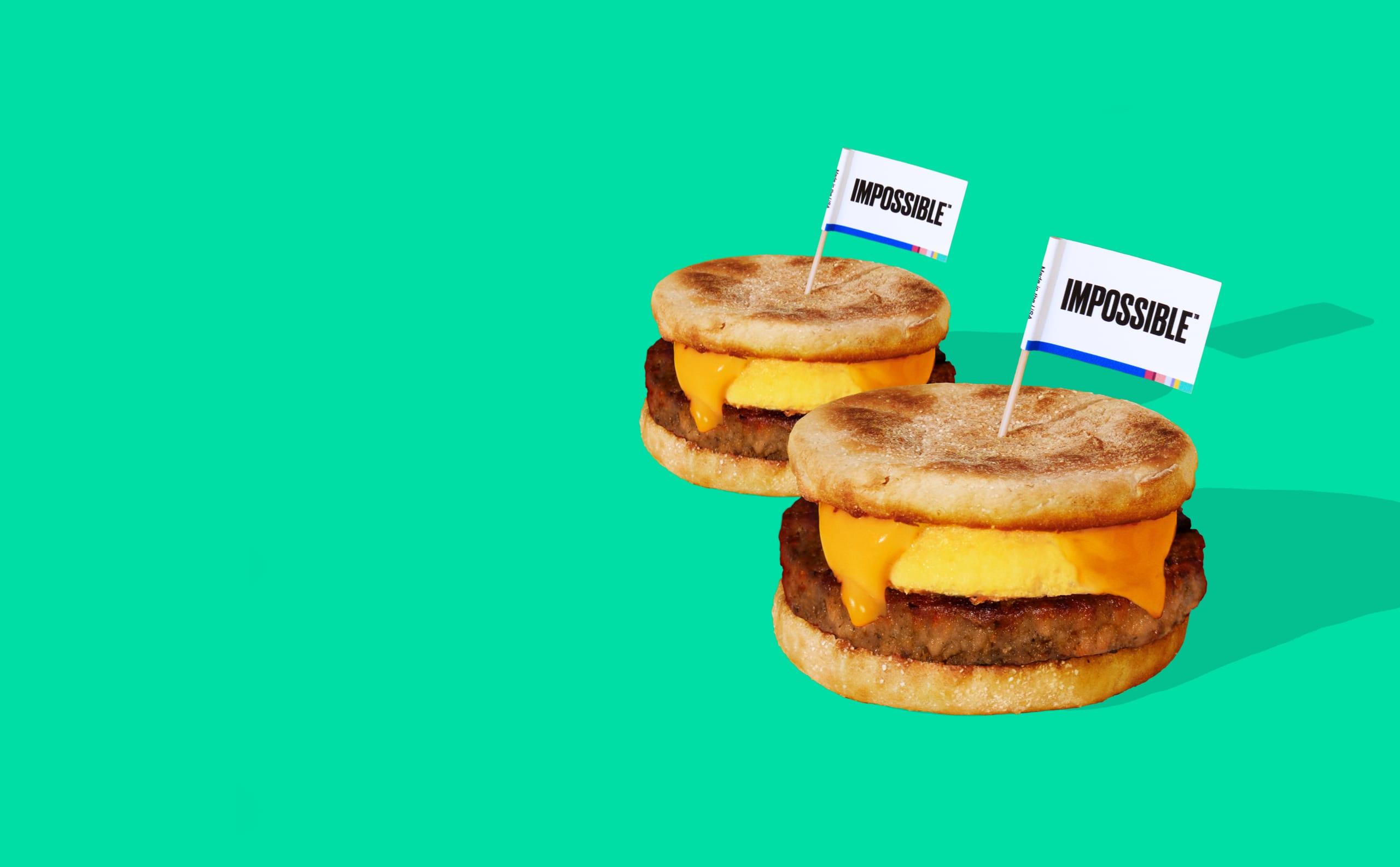 Sell Sausage Plant Based Diet Breakfast Plant Based Breakfast Sandwich on green background