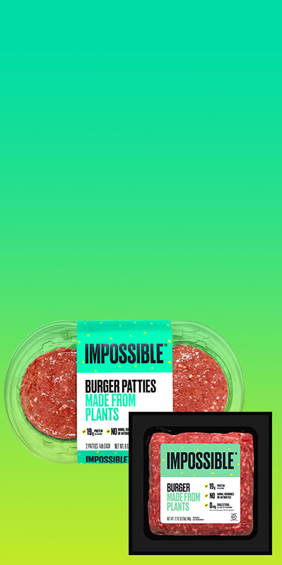 Impossible Burger + Patty SKUs Hero on green background