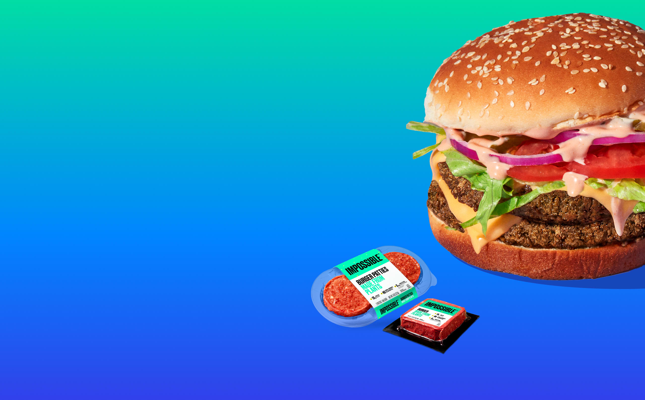 Impossible Burger hero shot, grocery 12 oz pack and patty 2-pack on a green/blue gradient background.