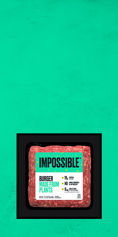 Impossible Burger hero image retail grocery desktop logo with green background Plant Based Protein Foods