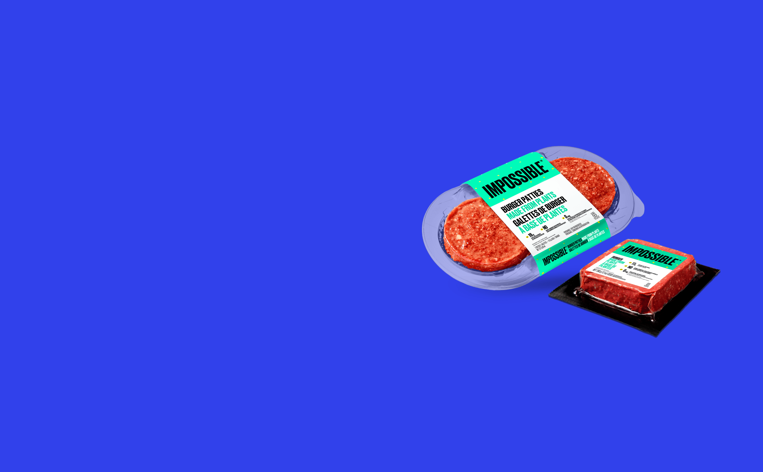 Impossible Burger Canada patties and 12 oz brick on blue background