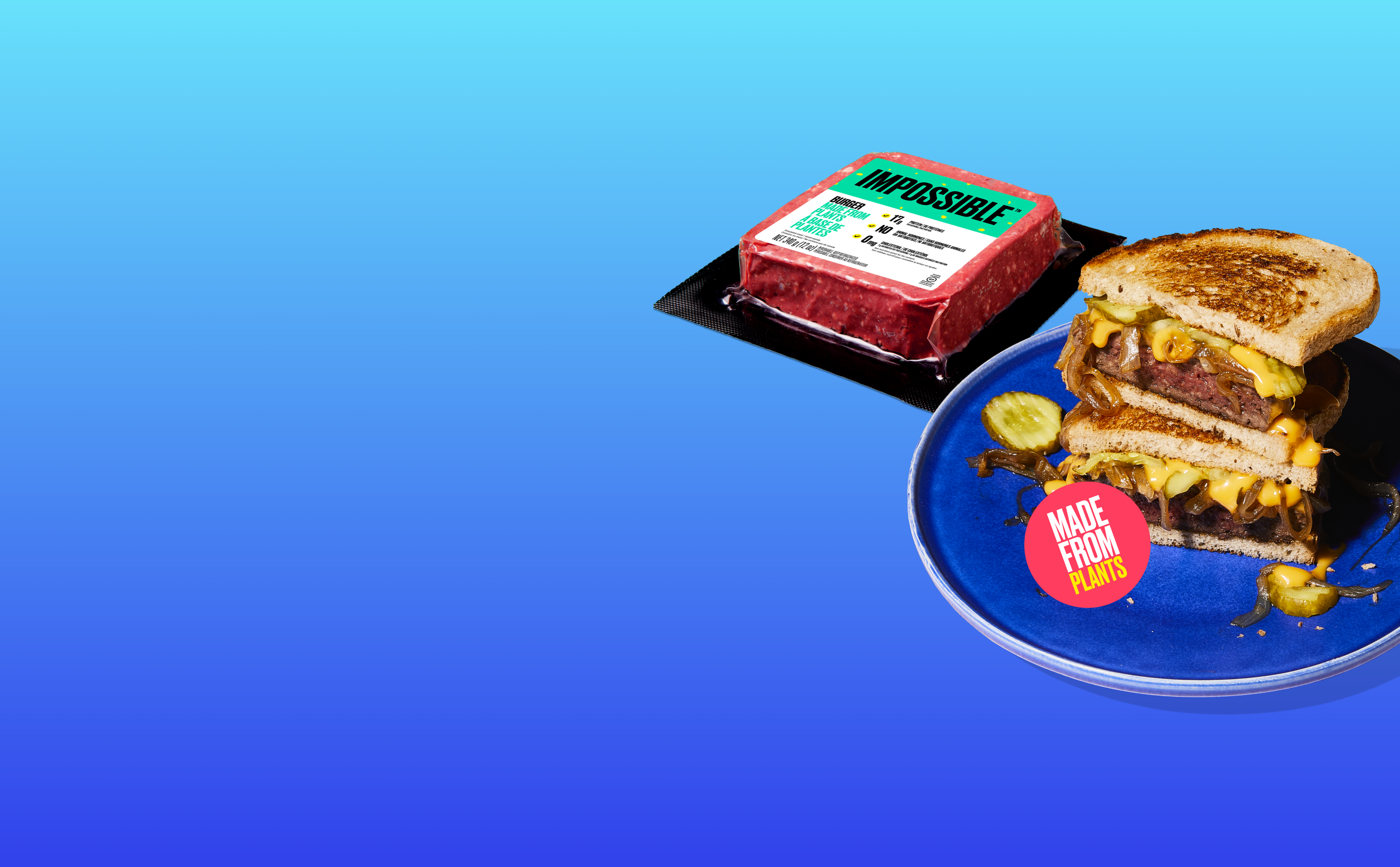 Photo of Impossible Patty Melt and Impossible Burger on blue gradient background