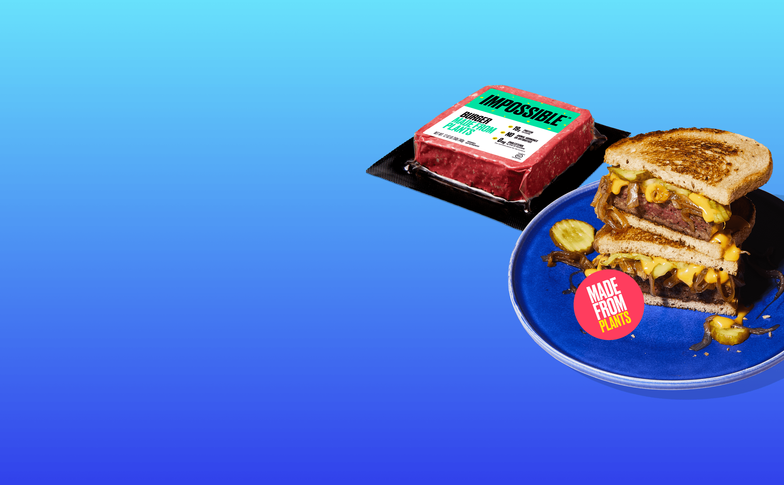 New Year New You desktop image impossible burger pack and impossible patty melt on blue background