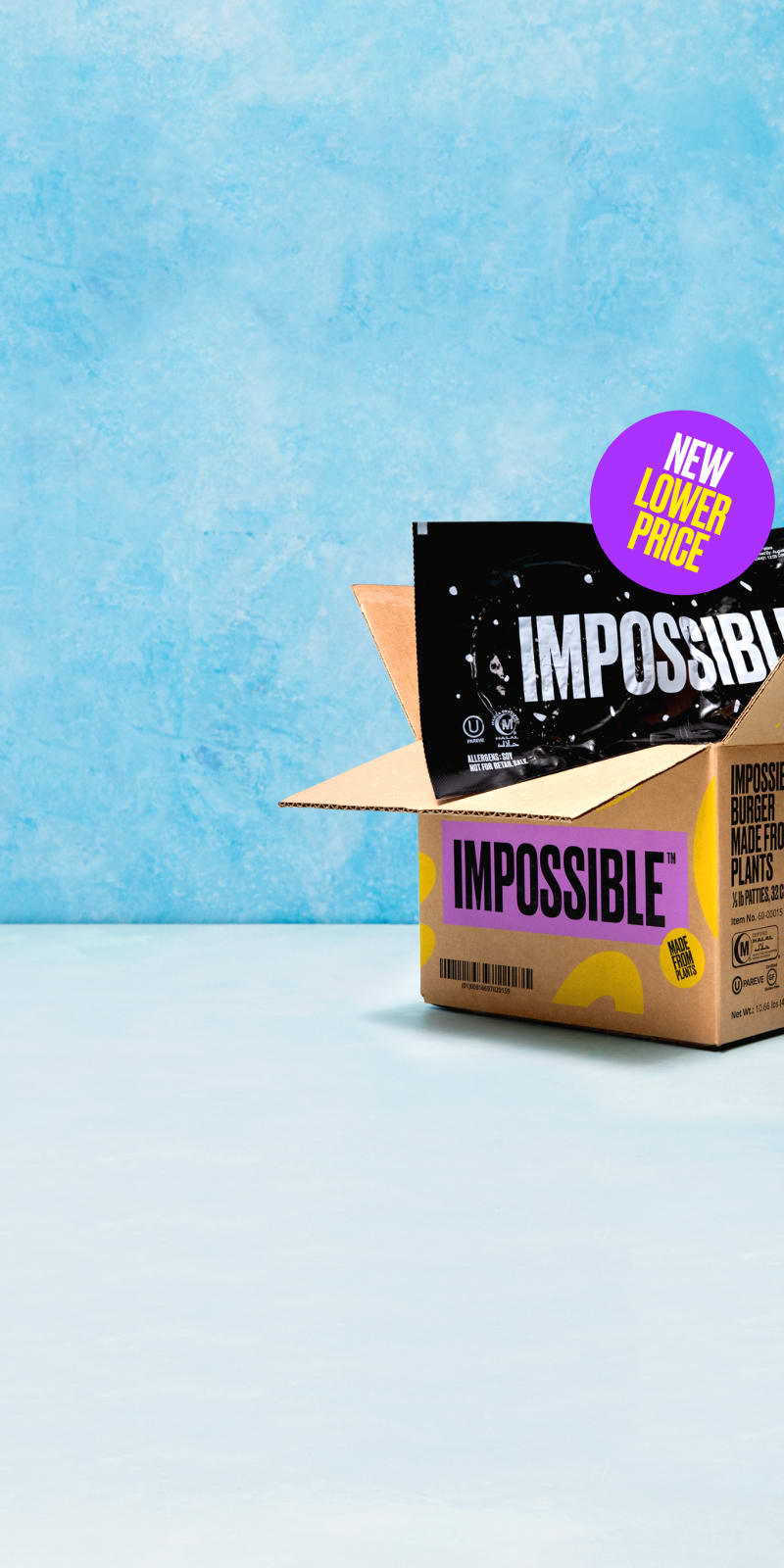 Impossible Burger packaged in Impossible branded box with new lower price sticker