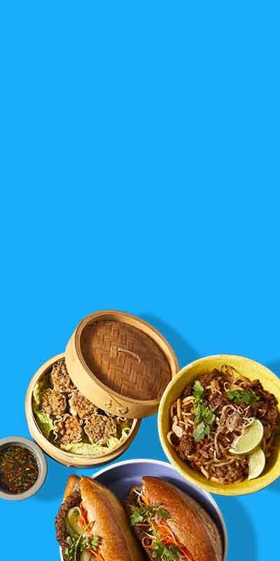 Desktop image of three Impossible Pork dishes: banh mi, dumplings, noodles