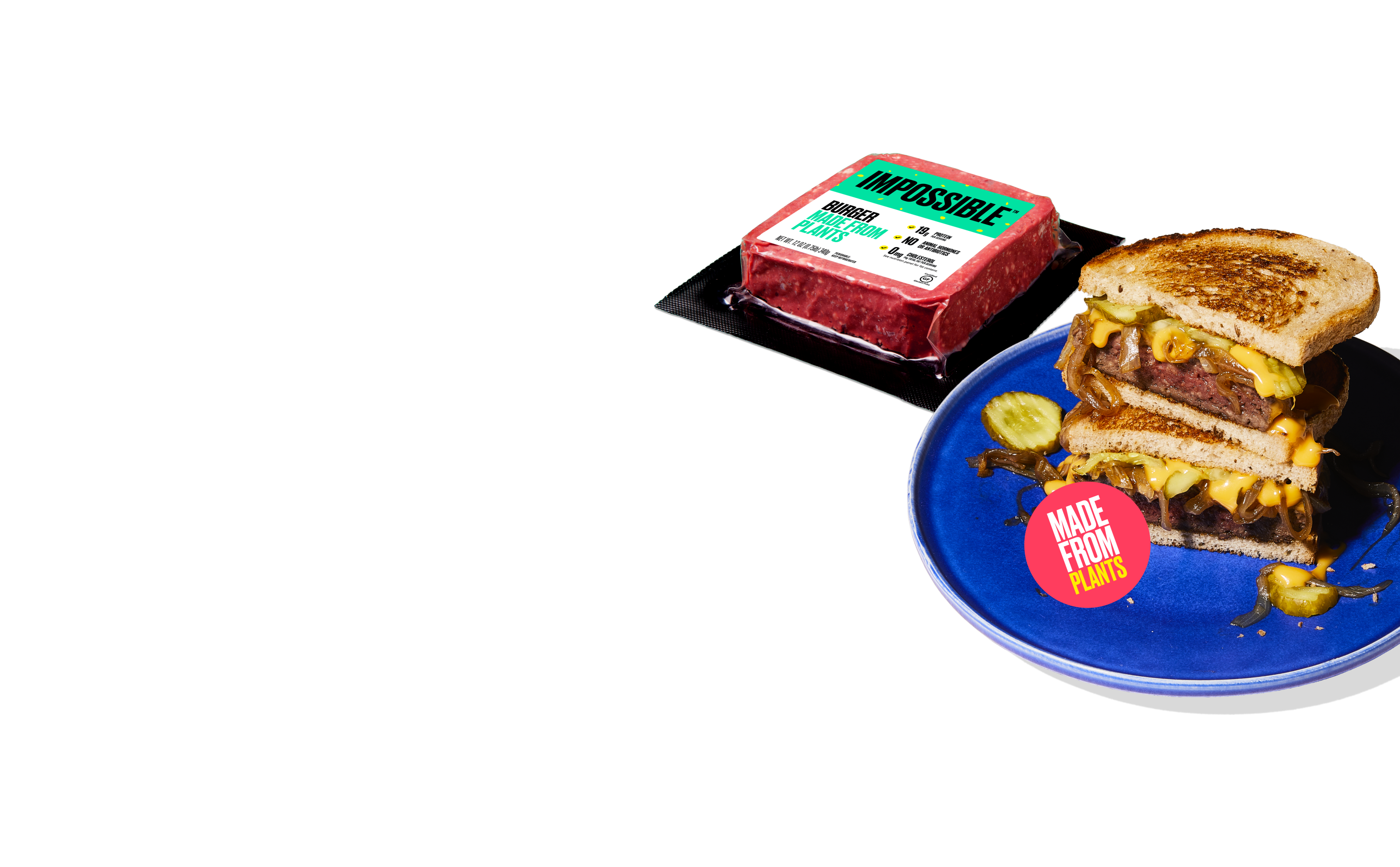 New Year New You desktop image impossible burger pack and impossible patty pelt on blue background
