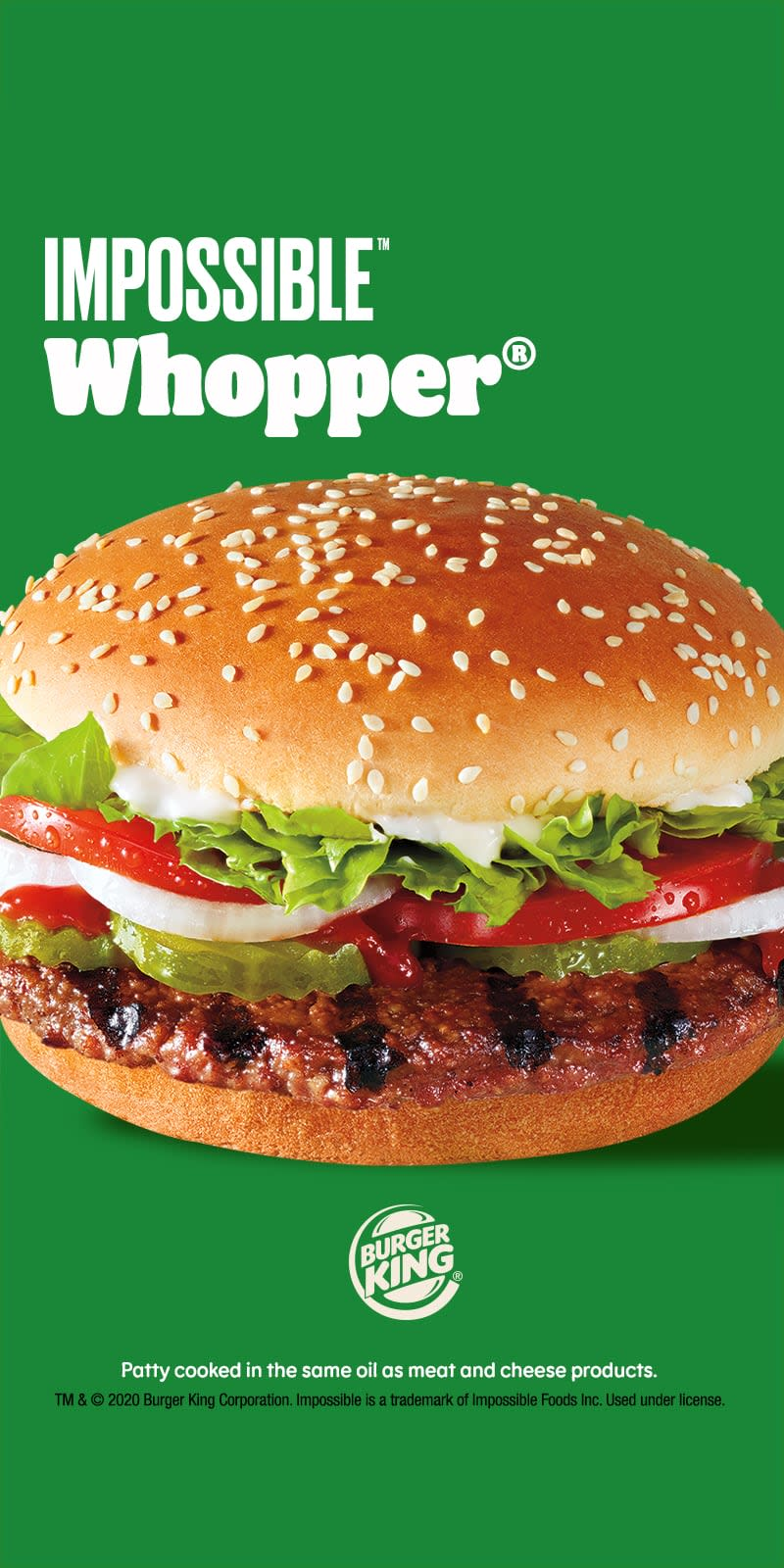 Impossible Whopper from Burger King on green background