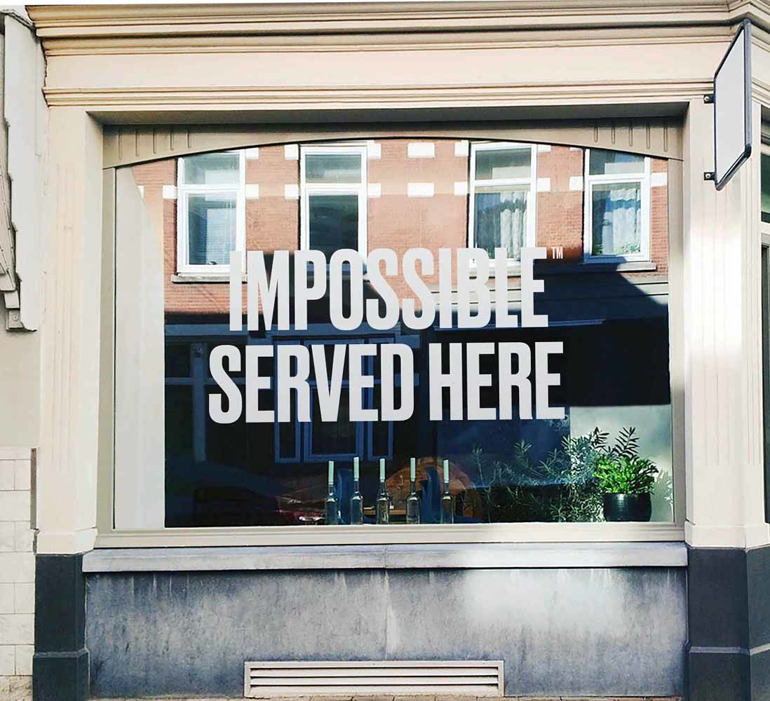 Impossible served here window cling image