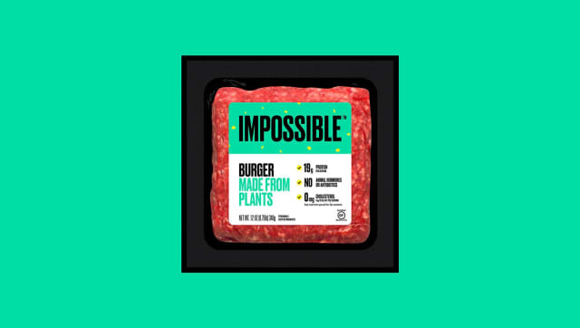 Impossible Burger retail 12 oz brick front on green background