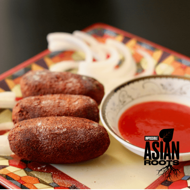 Try this Impossible™ Indian Cutlet Recipe using meat made from plants, homemade spice mix, potatoes, beets, and carrots.