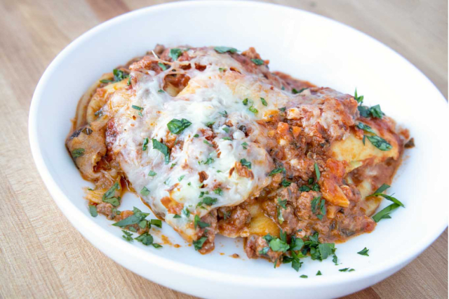 Try this Impossible™ Ravioli Lasagna Bolognese made with Impossible™ Burger