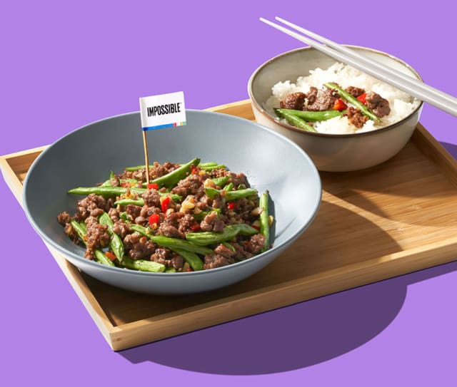 Dish of Impossible™ Stir Fried French Beans Recipe made with Impossible™ Burger