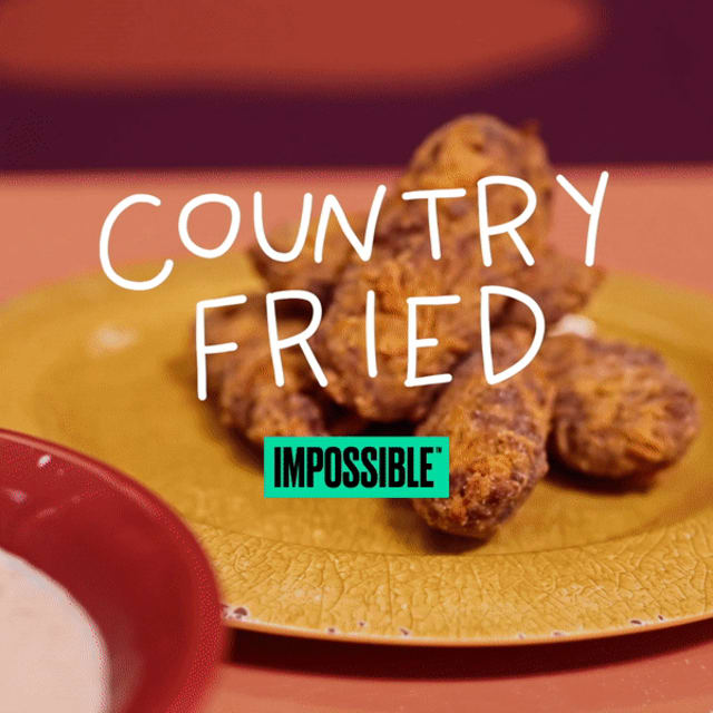 delicious Impossible burger Country Fried Hamburger made with Impossible Burger