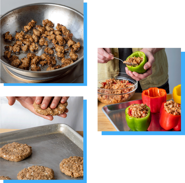 Three image collage showing Impossible Sausage being prepped and cooked: hands forming patties, crumbles cooking, and bell peppers being stuffed with a sausage mixture