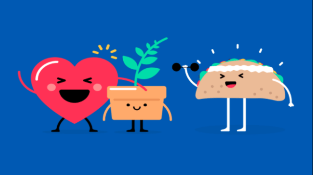 Impossible Foods heart plant and taco cartoon happy