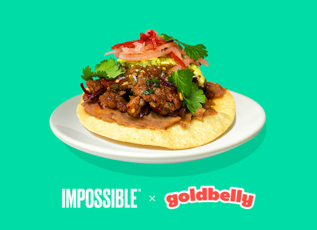Chef Traci Des Jardin's Impossible™ Salpicón Tostadas made with Impossible™ Burger, creamy pinto beans, and guacamole