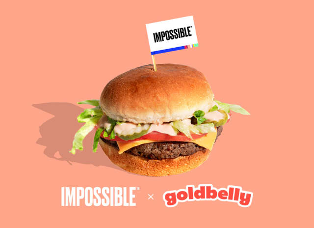The classic Impossible™ Burger recipe from Goldbelly on a toasted potato bun and topped with a delicious secret I.B. sauce.