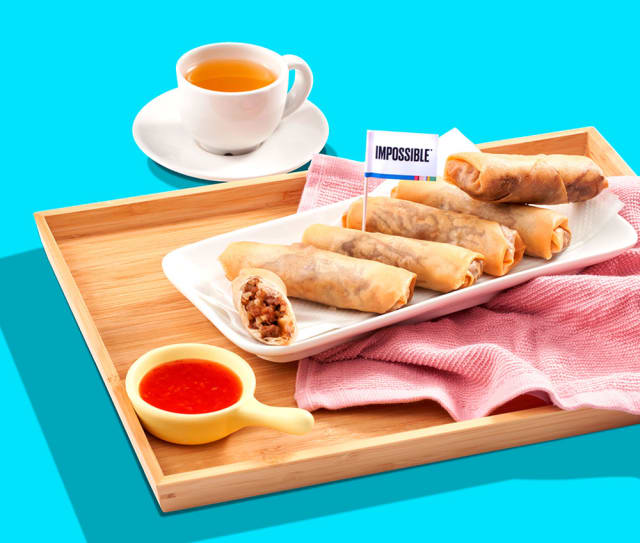 Try this Impossible™ Taro Spring Rolls Recipe made with Impossible™ Burger.