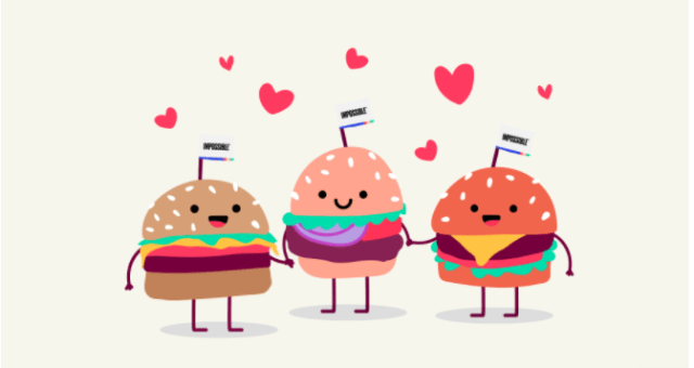 Three Cartoon Burgers Holding Hands with hearts above their heads Food Sustainability