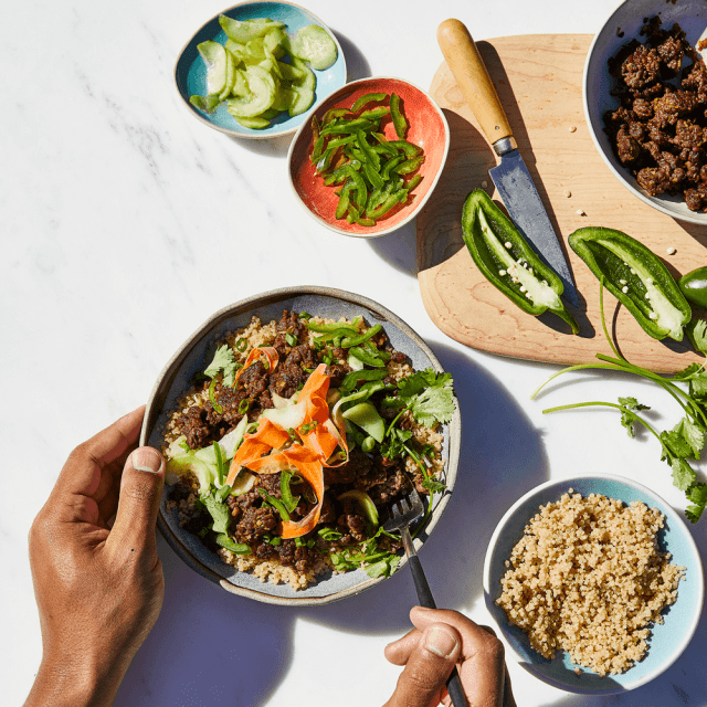 Impossible Quinoa Bowl Recipe made with Impossible Burger