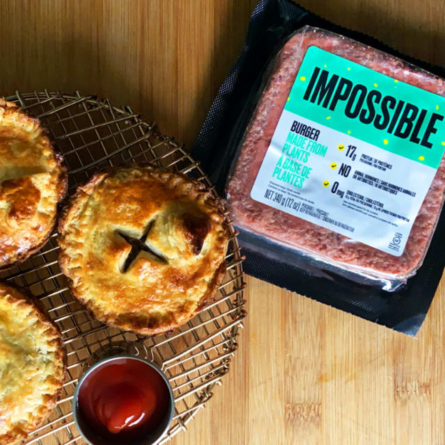 Mini Impossible Tourtières meat pie recipes made with Impossible Burger