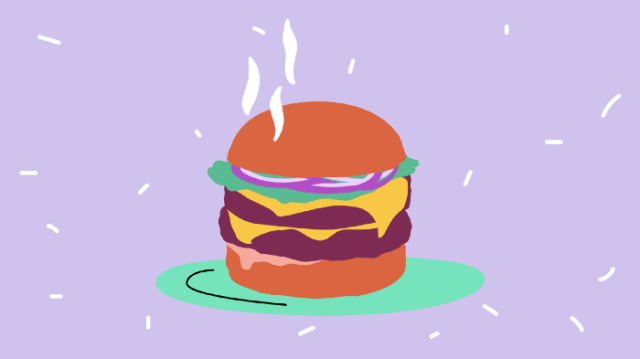 Steaming Burger animation on purple background