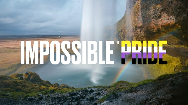 Impossible Pride Logo with Nonbinary Colors for Pride Month.