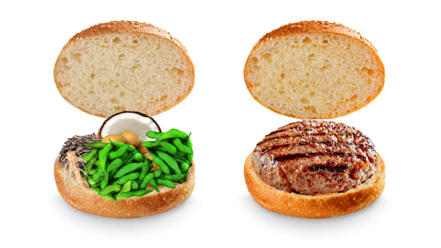Two opened sandwich buns, one showing the ingredients of Impossible™ Burger, and the other with an Impossible™ Burger cooked.