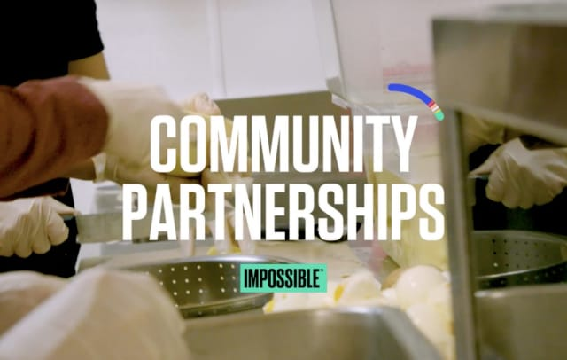 Community Partnerships and Impossible Foods over lab background