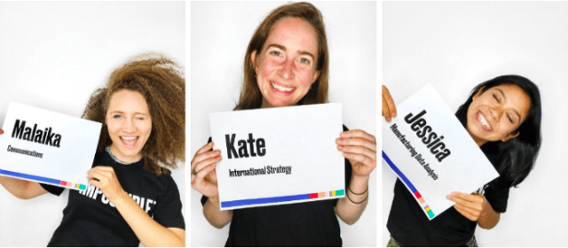 Impossible Foods Interns Holding Name Tags sustainable issue